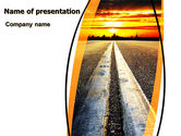 Cars and Transportation: Road To Sunset Stad PowerPoint Template #06674
