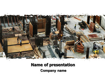 Construction: Big Building Site PowerPoint Template #06675