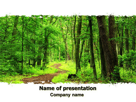 Green Woods PowerPoint Template, 06679, Nature & Environment — PoweredTemplate.com