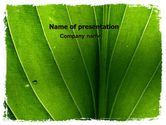 Nature & Environment: 파워포인트 템플릿 - 녹색 잎 줄무늬 #06686