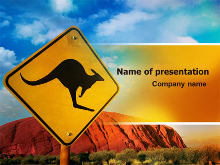 Animals and Pets: Kangaroo Sign PowerPoint Template #06697
