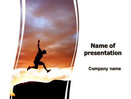Business Concepts: Jumper On Sunset PowerPoint Template #06709