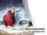 Nature & Environment: Girl Staying On The Rough Waters PowerPoint Template #06711