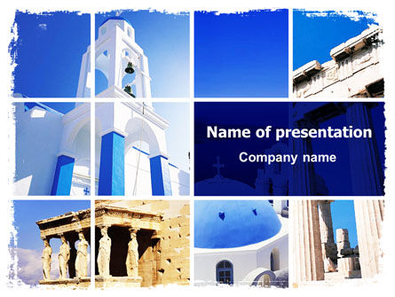 Greek Churches PowerPoint Template, 06714, Art & Entertainment — PoweredTemplate.com