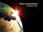 Global: Sunrise in Space PowerPoint Template #06729