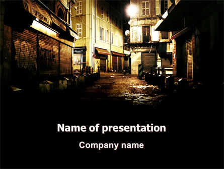 Night Street PowerPoint Template, 06735, Construction — PoweredTemplate.com