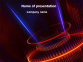 Technology and Science: Abstract Neon Glowing Circle PowerPoint Template #06736