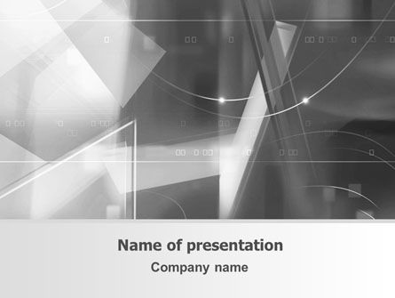 Abstract Geometry In Gray PowerPoint Template, 06746, Technology and Science — PoweredTemplate.com