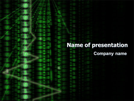 Telecommunication: Matrix Code Stream PowerPoint Template #06754