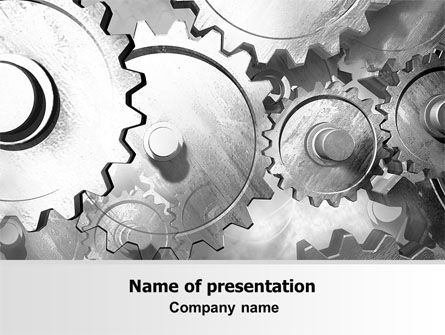 Utilities/Industrial: Gray Gear Mechanism PowerPoint Template #06764