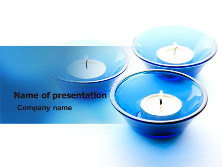 Health and Recreation: Blue Candles PowerPoint Template #06778
