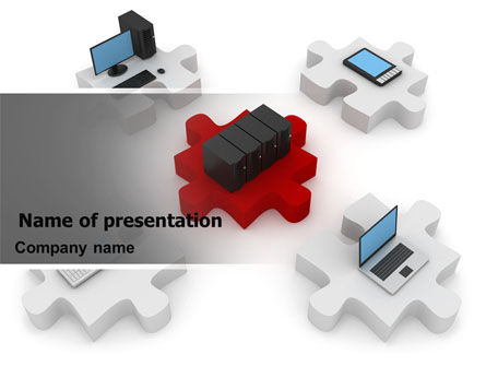 Computers: Central Computer Server PowerPoint Template #06779