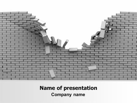 Consulting: Broken Wall In Gray PowerPoint Template #06781