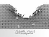 Broken Wall In Gray PowerPoint Template#20