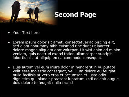 Backpacking On The Mountain PowerPoint Template, Slide 2, 06795, Sports — PoweredTemplate.com