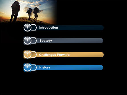 Backpacking On The Mountain PowerPoint Template, Slide 3, 06795, Sports — PoweredTemplate.com