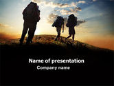 Sports: Backpacking On The Mountain PowerPoint Template #06795