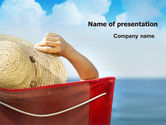 Careers/Industry: Lady On The Beach PowerPoint Template #06799