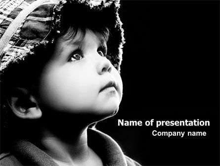 People: Child In Black And White PowerPoint Template #06817