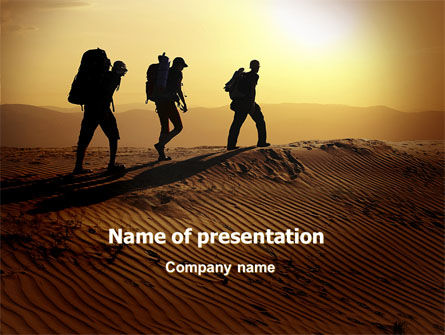 Sports: Backpacking in sand PowerPoint Vorlage #06820