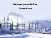Careers/Industry: Snowcovered Power Line PowerPoint Template #06828