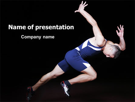 Hard Start Of Runner PowerPoint Template, 06839, Sports — PoweredTemplate.com