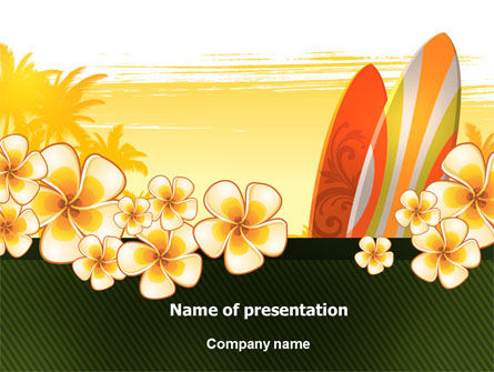 Holiday/Special Occasion: Surfing Thema PowerPoint Template #06869