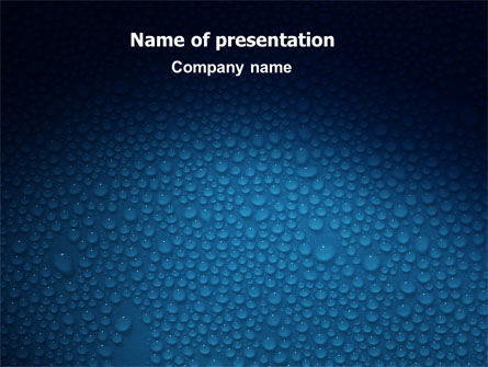 Water Drops On A Deep Blue Background Powerpoint Template