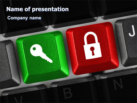 Business Concepts: Lock And Key On The Keyboard PowerPoint Template #06905