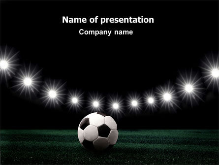Sports: Football Stadium In The Night PowerPoint Template #06916