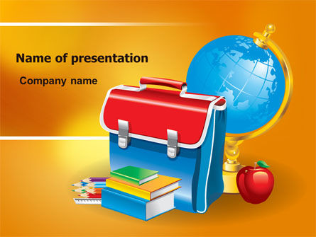 School Bag PowerPoint Template, 06920, Education & Training — PoweredTemplate.com
