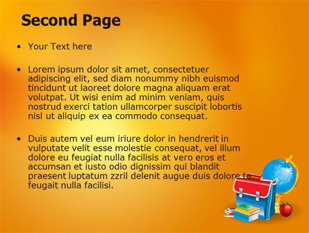 School Bag PowerPoint Template, Slide 2, 06920, Education & Training — PoweredTemplate.com