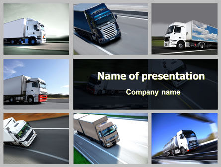 Cars and Transportation: Trailer Trucks PowerPoint Template #06923