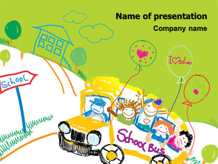 School Bus As Childish Picture PowerPoint Template