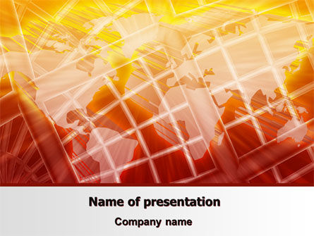 Global: World Overview In Red Yellow Palette PowerPoint Template #06933