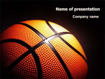 Basketball Ball On Nba Colors Floor Powerpoint Template