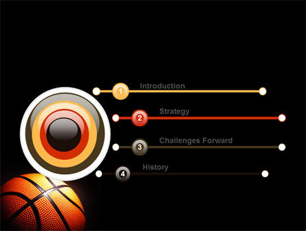 Basketball Ball on NBA Colors Floor PowerPoint Template Slide 3