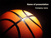 Sports: Basketball Ball on NBA Colors Floor PowerPoint Template #06934