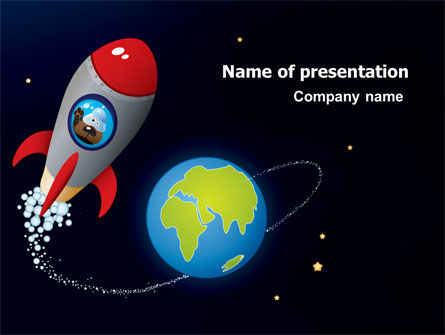 cartoon rocket powerpoint template, backgrounds | 06937, Presentation templates