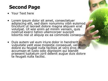 Green World in Human Hands PowerPoint Template, Slide 2, 06955, Nature & Environment — PoweredTemplate.com