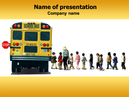 School Bus Stop PowerPoint Template, 06967, Education & Training — PoweredTemplate.com