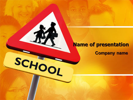 Sign Of School Crossing PowerPoint Template