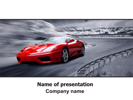 Cars and Transportation: Red Sports Car PowerPoint Template #06984