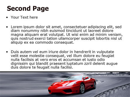 Red Sports Car PowerPoint Template, Slide 2, 06984, Cars and Transportation — PoweredTemplate.com