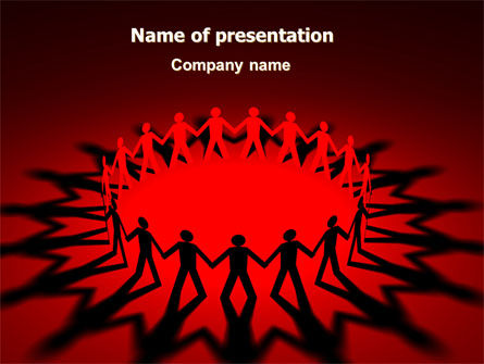 Round Dance On A Red Field PowerPoint Template, 06993, Religious/Spiritual — PoweredTemplate.com
