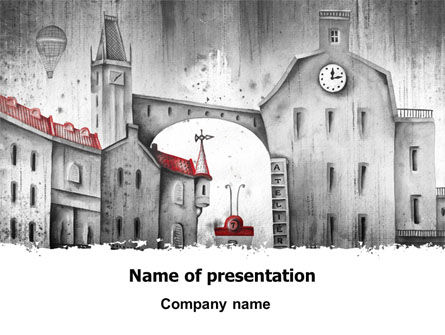 Construction: Old City Drawing PowerPoint Template #07006
