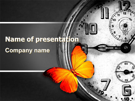 Butterfly Sitting On The Clock PowerPoint Template