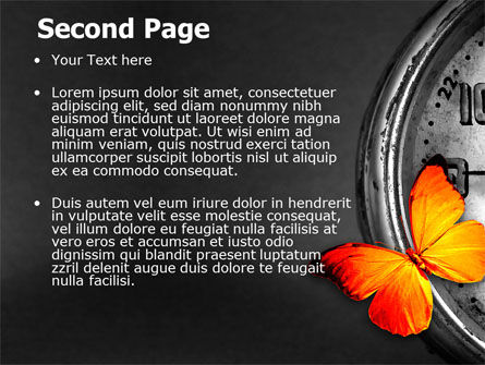 Butterfly Sitting On The Clock PowerPoint Template, Slide 2, 07007, Business Concepts — PoweredTemplate.com