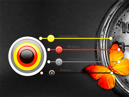 Butterfly Sitting On The Clock PowerPoint Template Slide 3