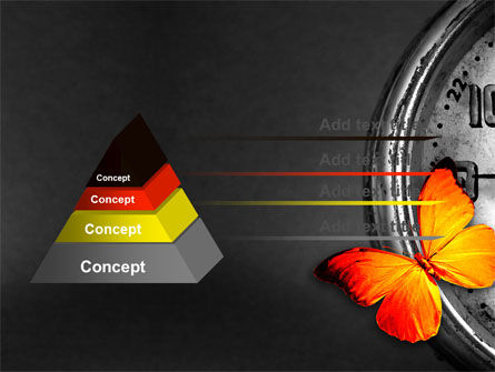 Butterfly Sitting On The Clock PowerPoint Template, Slide 4, 07007, Business Concepts — PoweredTemplate.com
